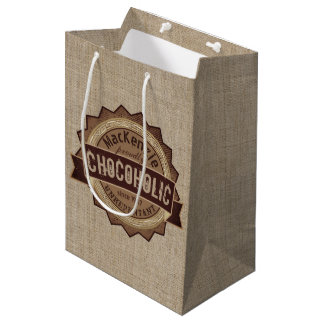 Chocoholic Chocolate Lover Grunge Badge Brown Logo Medium Gift Bag