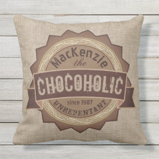 Chocoholic Chocolate Lover Grunge Badge Brown Logo Outdoor Pillow