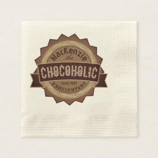 Chocoholic Chocolate Lover Grunge Badge Brown Logo Paper Napkins