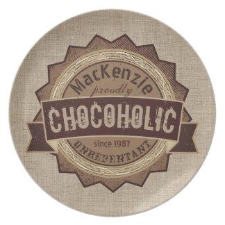 Chocoholic Chocolate Lover Grunge Badge Brown Logo Party Plates