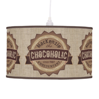 Chocoholic Chocolate Lover Grunge Badge Brown Logo Pendant Lamp