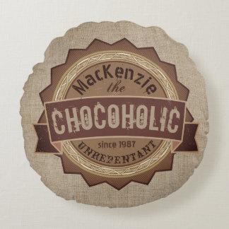 Chocoholic Chocolate Lover Grunge Badge Brown Logo Round Pillow