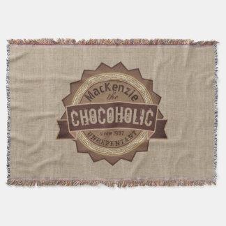 Chocoholic Chocolate Lover Grunge Badge Brown Logo Throw Blanket