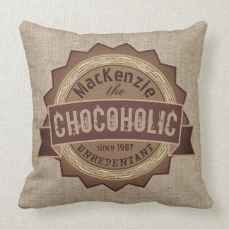 Chocoholic Chocolate Lover Grunge Badge Brown Logo Throw Pillow