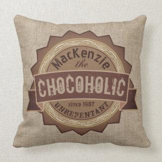 Chocoholic Chocolate Lover Grunge Badge Brown Logo Throw Pillow