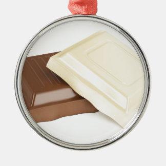 Chocolat blanc et brun ornement rond argenté
