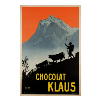 Chocolat Klaus,Swiss Vintage Advertising Poster