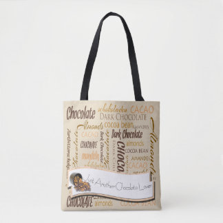 Chocolate, Almonds and Dark Chocolate Text Design Tote Bag