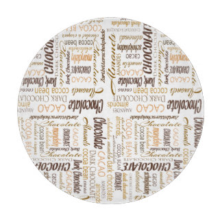 Chocolate, Almonds and Dark Chocolate Word Cloud Cutting Board