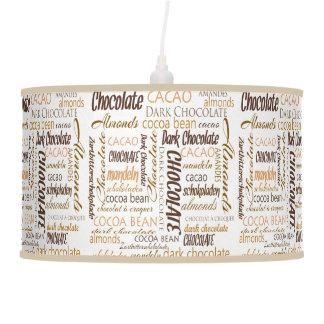 Chocolate, Almonds and Dark Chocolate Word Cloud Pendant Lamp