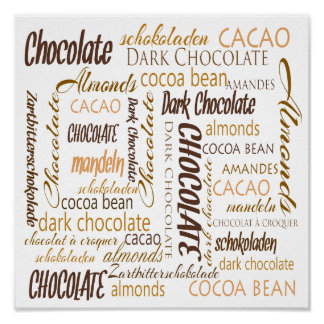 Chocolate, Almonds and Dark Chocolate Word Cloud Poster