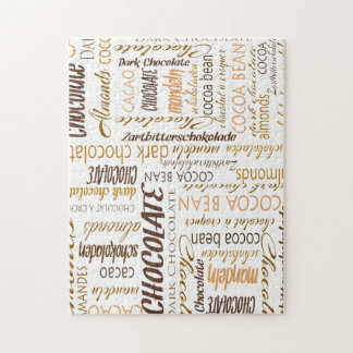 Chocolate, Almonds and Dark Chocolate Word Cloud Puzzle