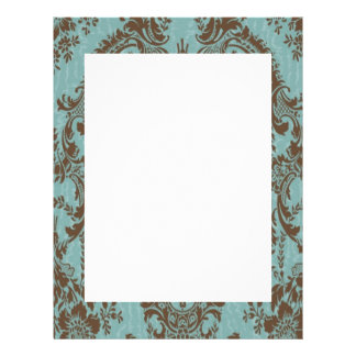 Chocolate and Aqua Damask Border Letterhead