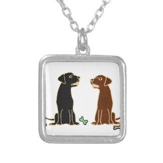 Chocolate and Black Labrador Retrievers Art Silver Plated Necklace