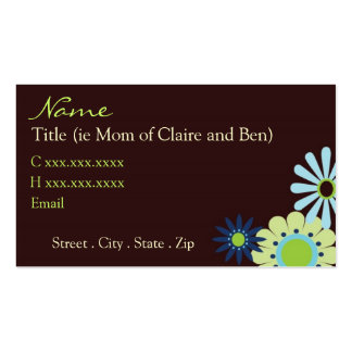 Chocolate and Blue Hip Mommy Card Business Card Templates