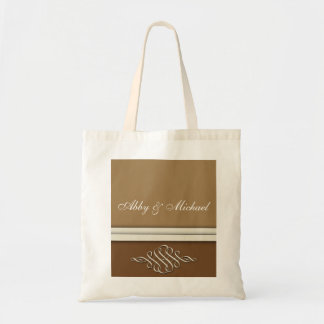 chocolate and dark brown wedding design tote bag