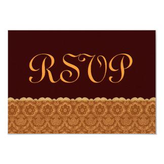 Chocolate and Gold Vintage Damask Wedding RSVP Card