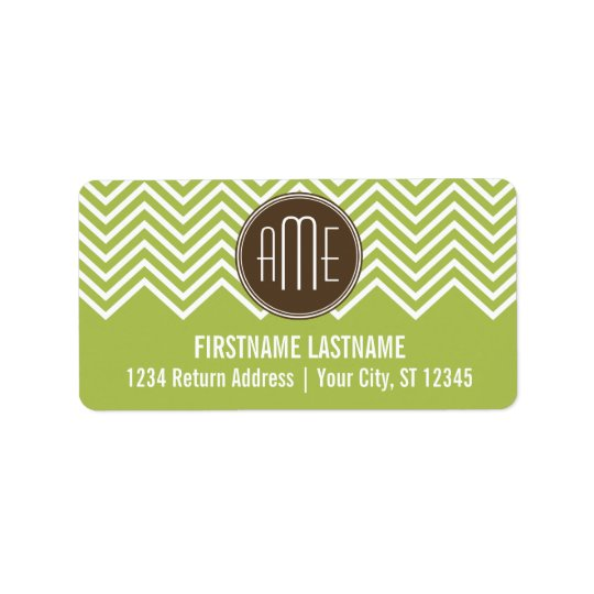 Chocolate and Lime Chevron Pattern with Monogram Label