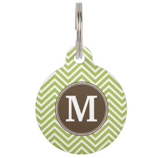 Chocolate and Lime Chevron Pattern with Monogram Pet Tag