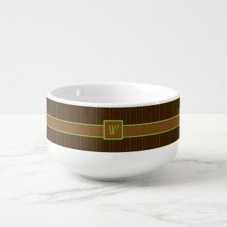Chocolate and Lime Pinstripes Soup Mug