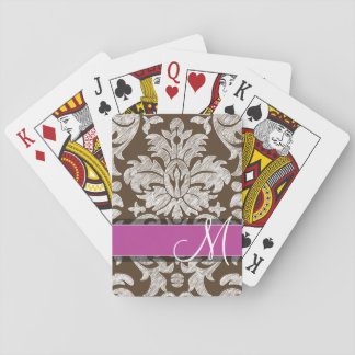 Chocolate and Magenta Damask Pattern Monogram Playing Cards