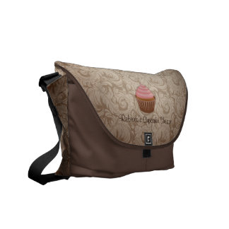 Chocolate and Pink Cupcake with Damask Pattern Messenger Bags