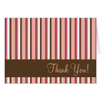 Chocolate and Pink Stripe Thank You Greeting Card