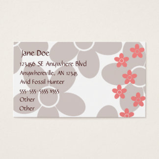 Chocolate and Salmon Floral Business Card