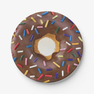 Chocolate and Sprinkle Doughnut Celebration 7 Inch Paper Plate