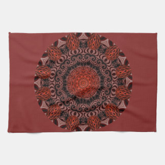 Chocolate and Strawberries Mandala, Abstract Kitchen Towel