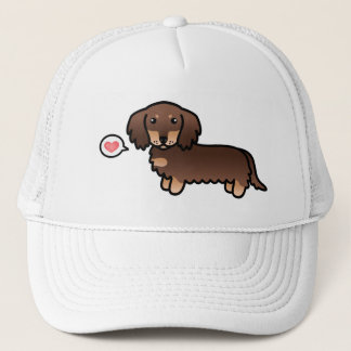 Chocolate And Tan Long Coat Dachshund Cartoon Dog Trucker Hat
