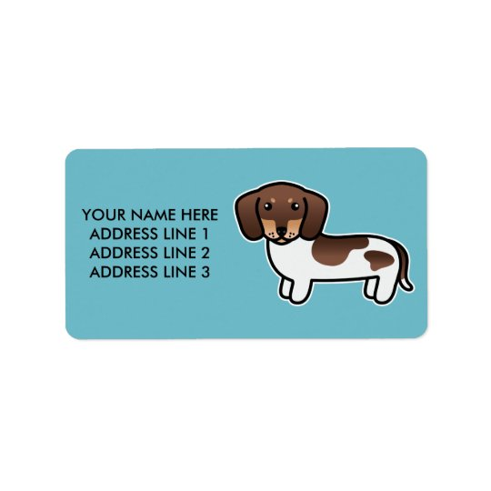 Chocolate And Tan Piebald Smooth Coat Dachshund Label