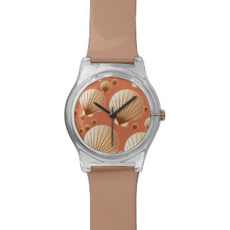 Chocolate and tan seashells on cocoa brown wrist watches