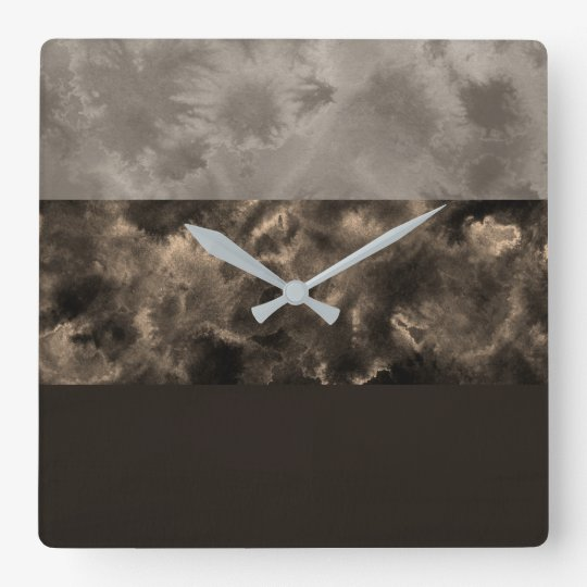 Chocolate and Taupe Block Stripes Square Wall Clock