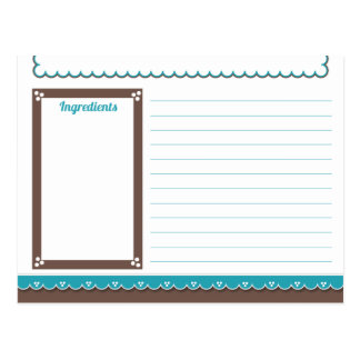 Chocolate and Turquoise Recipe Card