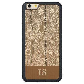 Chocolate and White Paisley Carved Maple iPhone 6 Plus Bumper Case