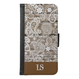Chocolate and White Paisley Samsung Galaxy S6 Wallet Case