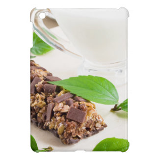 Chocolate bar with a cereal and milk for breakfast iPad mini cover