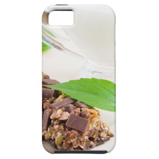 Chocolate bar with a cereal and milk for breakfast iPhone 5 case