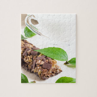 Chocolate bar with a cereal and milk for breakfast puzzle