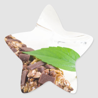 Chocolate bar with a cereal and milk for breakfast star sticker