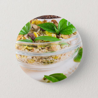 Chocolate bar with muesli and flakes 2 inch round button