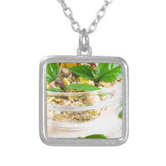 Chocolate bar with muesli and flakes silver plated necklace