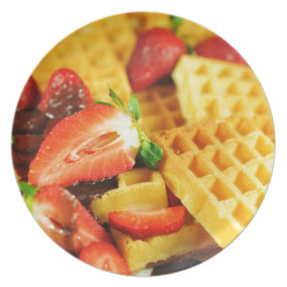 Chocolate Belgian waffle and strawberries Party Plates