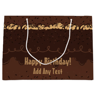 Chocolate Birthday Cake Frosting Large Gift Bag