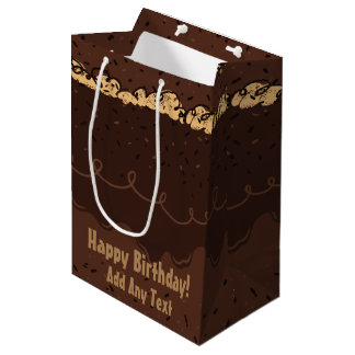 Chocolate Birthday Cake Frosting Medium Gift Bag