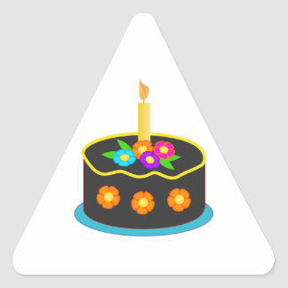 Chocolate Birthday Cake with Candle and Flowers Triangle Sticker