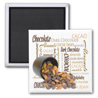 Chocolate Bits and Almonds Close Up Photograph Square Magnet