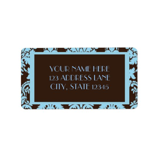 Chocolate Blue Damask Label