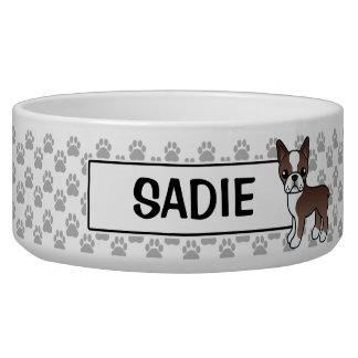 Chocolate Boston Terrier Dog And Custom Pet Name Pet Water Bowl